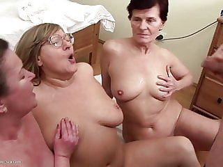 Mature Hairy Moms Fuck Young Girl and Spit on Her