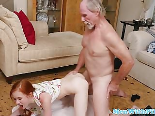 Ginger Teen Blows Grandpa Till Cum in Mouth