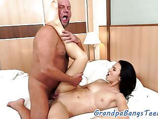 Sweet Teen Pounded by Senior on Bed