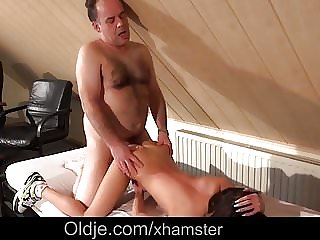 Teen Housekeeper Cant Resist Fucking Her Boozy Old Boss