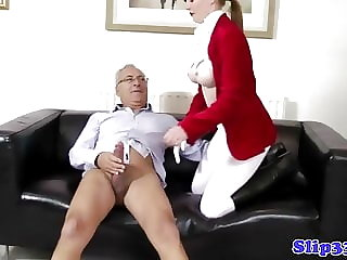 Classy Amateur Plowed by Old Man