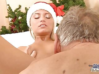 Nympho Teen Wants Sex from Grandpa on Christmas Day Fucking