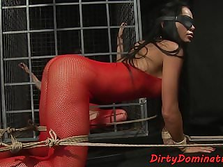 Blindfolded Slave Pissing and Serving Master