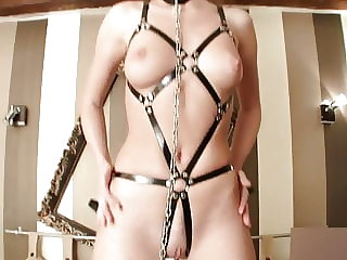 Beautiful Bruenette in Leather Harness Bound and Punished