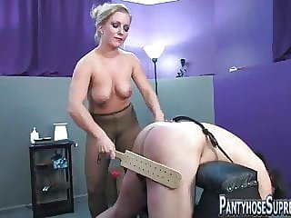 Dominant Pantyhose Clad Mistresses in Femdom Action