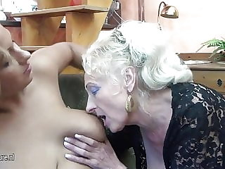 Two Grannies Fucked by Incredible Hot Girl