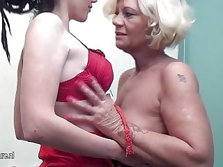 Hot Young Lesbian Plays with Grandmother in Bath