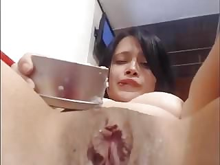 Tits and Pussy Coverd with Hot Wax on Webcam