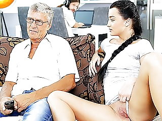 Daddy4k. Old and Young Lovers Have Spontaneous Sex Behind
