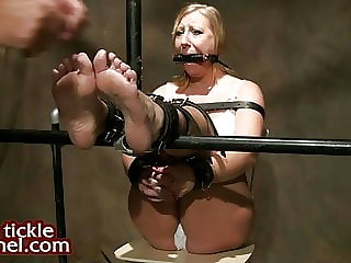 Blond Tied for Foot Tickling