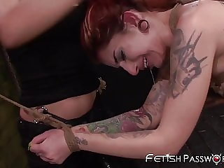 Redhead Sub Sheena Rose Toyed with Roughly by Mean Babes