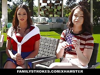 Familystrokes - Sexy MILF Joins Step-son and Daughter in Three