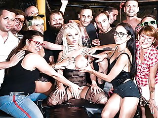 Crowd Bondage - Big Titted Blonde Used in Group Orgy