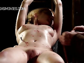 Candle Wax Dripped on a Naked Poor Girl