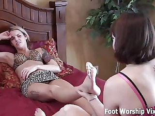 Leyla Massaging Bella's Perfectly Pedicured Feet