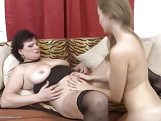 Mom and Daughter Try Lesbian Sex