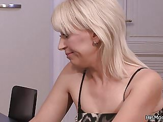 He Finds Blonde Mom and Teen Fucking on Table