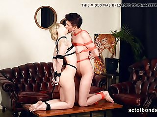 Two Girls Hogtied and Tickled for Kissing