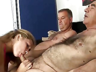 Husband Sharing His Lovely Sexy Wife with Old Granpa