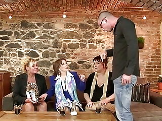 Orgy with 3 Mature Mothers and One Young Cock